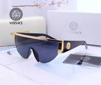 yeni stil lensler toptan satış-Yeni stil 2019 Versace medusa güneş gözlüğü yarım çerçeve kadın erkek marka tasarımcı uv koruma güneş gözlükleri şeffaf lens ve Orijinal kutusu