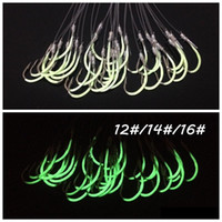 60pcs 12 14 16# Luminous Lures Hook (With Fishing Lines) Barbed Fishing Hooks Pesca Carp Fishing Tackle Accessories BLU_090