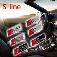 emblema rs4 venda por atacado-Emblema SLINE Volante Emblema Etiqueta A3 A4 A5 A6 A8 Q3 Q5 Q7 RS4 RS5 CC TT