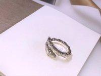 sipariş gümüş yılan toptan satış-FAHMI 100% 925 Ayar Gümüş Yeni Dar Baskı Serpenti Yılan Yüzük Tam Elmas Kakma Çift Parti Düğün Sipariş Ayarlanabilir Takı Yüzük
