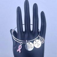 ingrosso bracciali regolabili del cancro al seno-diamante braccialetto ewelry calda di vendita Breast Cancer Awareness braccialetti espandibili regolabili con alberi durata del nastro di seta non si arrendono mai ch ...
