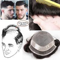 toupees de renda venda por atacado-Peruca de Cabelo dos homens Peruca de Cabelo Humano de Substituição de Longa Duração peruca Swiss Lace Toupees Sistema peruca para homens