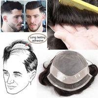 dentelle de cheveux pour les hommes achat en gros de-Toupet pour hommes Remplacement de cheveux Tenue de poil longue tenue pour cheveux humains Swiss Lace Toupees System toupee pour hommes