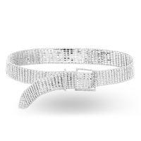 correa de cadena al por mayor-Nueva lujo todo-diamantes de imitación cinturón de latón de cadena cristalino de las mujeres de la cintura de piedra de cadena de plata vestido de la correa del lazo del metal para los pantalones vaqueros