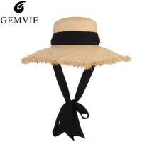 GEMVIE Tejido hecho a mano de rafia Sombreros para el sol para las mujeres  Cinta negra Lace Up Sombrero de paja grande del borde Sombrero de paja del  verano ... c934c50256b