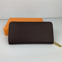 Wholesale ladies passport holders for sale - Group buy Fashion women clutch wallet pu leather wallet single zipper wallets lady ladies long classical purse with orange box card