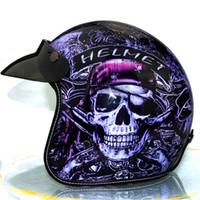 dosen visier großhandel-HEISSE offene Helme des 3/4 Retro- Weinlesehelmes cascos capacetes Sturzhelmmotorrad-Sturzhelmschilde können Blasenvisier addieren