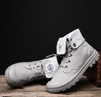 tubo de lona al por mayor-Botas de gran tamaño de cuatro estaciones de alta ayuda para hombres, zapatos de lona, tubo largo, retro, botas Martin, zapatos para hombre, Palladium i
