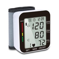 monitores grandes al por mayor-Monitor de presión arterial Monitor de presión arterial clínica de muñeca precisa con 99 transmisiones de voz de memoria y pantalla LCD grande
