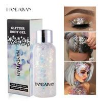 Wholesale gel gems resale online - HANDAIYAN Holographic Mermaid Glitter Eyeshadow Gel Colors Body Face Eye Liquid Loose Sequins Pigments Makeup Cream Festival Gems