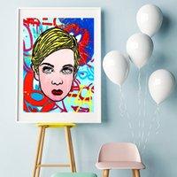 ingrosso capelli moderni-Alec Monopolyingly Capelli biondi Astratta Graffiti Dipinti su tela Modern Art Immagini da parete decorativa per soggiorno Decorazione domestica
