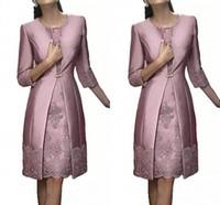 vestidos roxos para mãe noiva longa venda por atacado-Elegante 2018 mãe da noiva vestidos de noite com jaqueta longa bainha na altura do joelho empoeirada roxo Siver cinza Santin e vestidos de noiva de renda