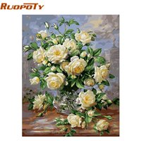 Wholesale vintage paint number painting resale online - RUOPOTY Europe Flower Abstract Diy Painting By Numbers Kits Acrylic Paint Vintage Hand Painted Oil Painting Home Decoration