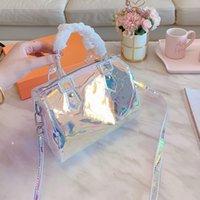 bunte kupplungen groihandel-Luxus Bunte Shell Bag Printing Eimer Handtaschen Klare Handtaschen Clutch Laser Flash PVC Kupplungen Designer Handtaschen Transparente Duffle Bag