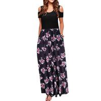 kalte schulterkleider großhandel-Frauen Kleider Kalte Schulter Tasche Blumendruck Elegantes Maxi Kurzarm Freizeitkleid Strand Vintage Maxi Blumenkleid