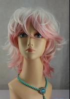 color de pelo castaño corto al por mayor-WIG envío gratis AZ5 Ladies Faceframe Full Bang Classic Bob estilo luz Auburn corto blanco rosado peluca de moda