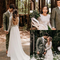 Wholesale weddings gown resale online - Beach Bohemian Wedding Dresses Sexy Backless Long Sleeve Country Boho Bridal Gowns Custom Made Wedding Dress BC1704