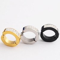 Wholesale clip fake earrings resale online - 4x9mm L stainless steel Ear Clip Non Piercing Earrings Fake Earrings for Men Circle Round Earring Fashion Jewelry price