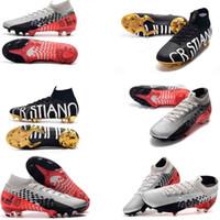 cr7 sapatos pretos venda por atacado-Original Preto CR7 13 Elite 360 Mercurial Superfly V Sapatos FG Futebol C Ronaldo 7 Nuovo Branco Pacote de futebol dos homens Grampos