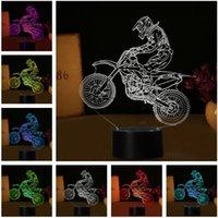 ingrosso luce di notte incrociata-7 Colori Cambia 3D Extreme Sport Cross-Country Moto Modelling Desk Lamp Led Visual Decor USB Touch Night Light Bambino Uomo regalo di compleanno
