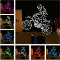Wholesale cross night light resale online - 7 Colors Change D Extreme Sport Cross Country Motorcycle Modelling Desk Lamp Led Visual Decor USB Touch Night Light Child Man Birthday Gift