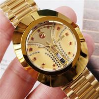 ingrosso due orologi da orologio-Commercio all'ingrosso Top donna oro qualità di lusso Movimento della vigilanza Mechnical regalo delle donne orologio da polso orologio 36 millimetri Due Date in acciaio inox automatico Dress
