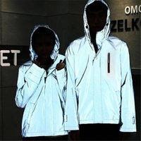 jaquetas à prova d'água venda por atacado-Jacket reflexivo Homens Sportswear com capuz Hoodies Harajuku Zipper Blusão Casual Waterproof Correndo Treino Men Sport Jacket