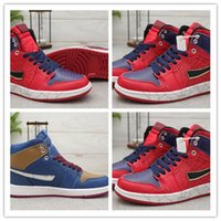 Wholesale brown golf shoes resale online - 2019 New Arrive Jumpman I High quot Captain America Basketball Shoes High Quality Men Dark Blue Brown Red S Sports Sneakers SIZE