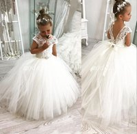 Cheap Lovely White Ivory Flower Girl Dresses For Weddings Lace Crystal Beads Sash Cap Sleeves Girls Pageant Dress Prom Kids Communion Gowns