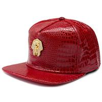 rotes lederband großhandel-Neue schwarze Goldpharao-Hysteresenkappen-rote Leder-populärste Mens-Hut-Mann-Frauen-justierbarer Strapback
