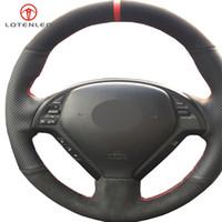 cubiertas de volante de gamuza negra al por mayor-LQTENLEO cuero negro Suede DIY cubierta del volante del coche para Infiniti G G25 G35 G37 EX EX35 EX30 EX37 Q Q40 Q60 QX50 2014-2018