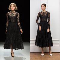 Wholesale black lace neck resale online - Gothic Black Tea Length Prom Dresses Long Sleeve Jewel Neck Full Lace Vintage Gowns Evening Wear