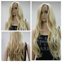 peruca longa loira loira encaracolado venda por atacado-New Long Light Blonde Cabelo Encaracolado Resistente Ao Calor Ondulado Cosplay Womens Full Perucas