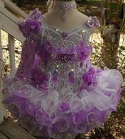 uma mão vestidos venda por atacado-Beads lantejoula queque meninas pageant vestidos feitos à mão flor babados de um ombro manga longa flor meninas vestido bc1417