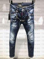 ingrosso nuovo arrivo del pantalone jeans-2020 FW nuovo arrivo Size superiore del progettista di marca Uomini denim jeans del ricamo pantaloni moda Fori pantaloni US 28-38