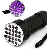görünmez el feneri toptan satış-395nm mor ışık el feneri 21 LED UV Ultra Violet Fener Fener Meşale Işık Lambası Mini UV Flaş Işık Blacklight Görünmez dedektör için