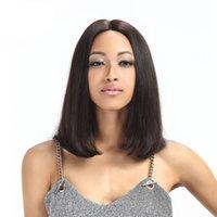 işlenmemiş bakire bob peruk toptan satış-Seksi 100% işlenmemiş bakire remy İnsan saç doğal düz bob kadınlar için doğal renk orta tam ön dantel peruk