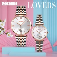 Wholesale ladies gentlemen resale online - SKMEI Fashion Couple Quartz Watch Women Men Lover Luxury Watches Stainless Steel Strap regalo hombre Lady Gentleman Gift