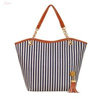 Wholesale girls large shopping bags for sale - Group buy Brand Top Women Bags Women Girl Stripe Tassels Canvas Shopping Handbag Shoulder Tote Shop Bag Bolso Mujer Sac A Main Y
