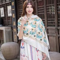 Wholesale white embroidered scarf resale online - White Embroider Flower Cashmere Scarf Women Winter Warm Fine Tassels Scarf Oversize Shawl Fashion Shawl Scarves