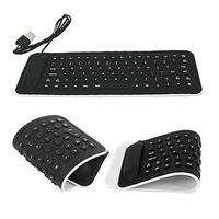 кожаные силиконовые штыри оптовых-Portable USB Mini Flexible Silicone PC Keyboard Foldable for Laptop Notebook Black With its proctective skin, dustproof F612