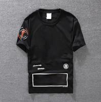 erkek giyim yaz toptan satış-Casual T-shirt Erkek Giyim Yaz Tasarımcı Gömlek Siyah Beyaz Turuncu Boyutu S-XXL Pamuk Karışımı Ekip Boyun Kısa Kollu Karikatür Baskı