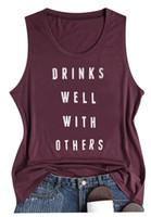 elbise içki toptan satış-Kadınlar En Tees Diğerleri Ile Iyi Içecekler Tankı Koyu Gri Yaz Rahat Mektup Baskılı Kolsuz Tankı Üstleri Ev Giyim HH9-2091
