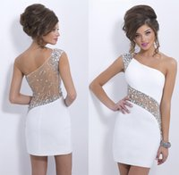 kurze sexy strass-partykleider groihandel-2019 Sexy Mini Cocktailkleider Strass One Shoulder Club Wear Partykleid Durchsichtig Zurück Plus Size Mantel Homecoming Kleider