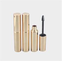 Wholesale golden bottle cosmetic online - ml golden cosmetic plastic bottle packaging empty eyelash bottle liquid ink tube