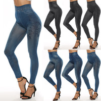 Wholesale woolen boots for sale - Group buy Fashion Slim Women Leggings Faux Denim Jeans Leggings Sexy Long Pocket Printing Summer Leggings Casual Pencil Pants LE399
