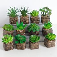 Wholesale mini bonsai artificial resale online - Mini Artificial Plants Succulents Pot Fake Plant Plastic Bonsai Green Plant Room Decoration Garden Home Decor