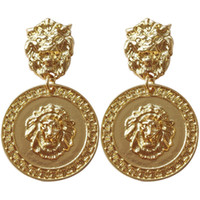 Wholesale images earrings resale online - Luxury Designer Stud Clip On Baroque Vintage Earrings for Woman Lion Head Image Fashion Europe USA Dangle Earrings