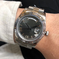 Wholesale dial watch online - 41mm Day Date Automatic Movement Watch Men Gray Dial Stainless Band Male Watch Montre Homme