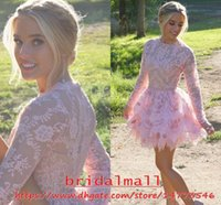 Wholesale prom dress gray lovely for sale - Lovely Pink Lace Short Prom Dresses With Sheer Long Sleeve Sheer Neck Cocktail Party Gowns Tiered Layers Graduation Homecoming Dress